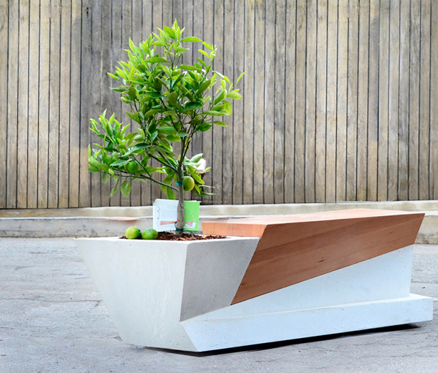 planter and bench combined
