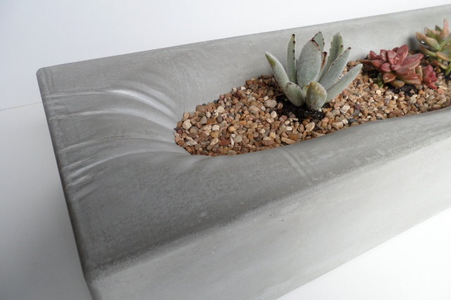 shallow concrete trough