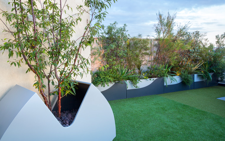 Pacman planter on roof top terrace
