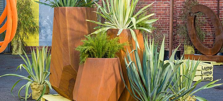 corten feature planters