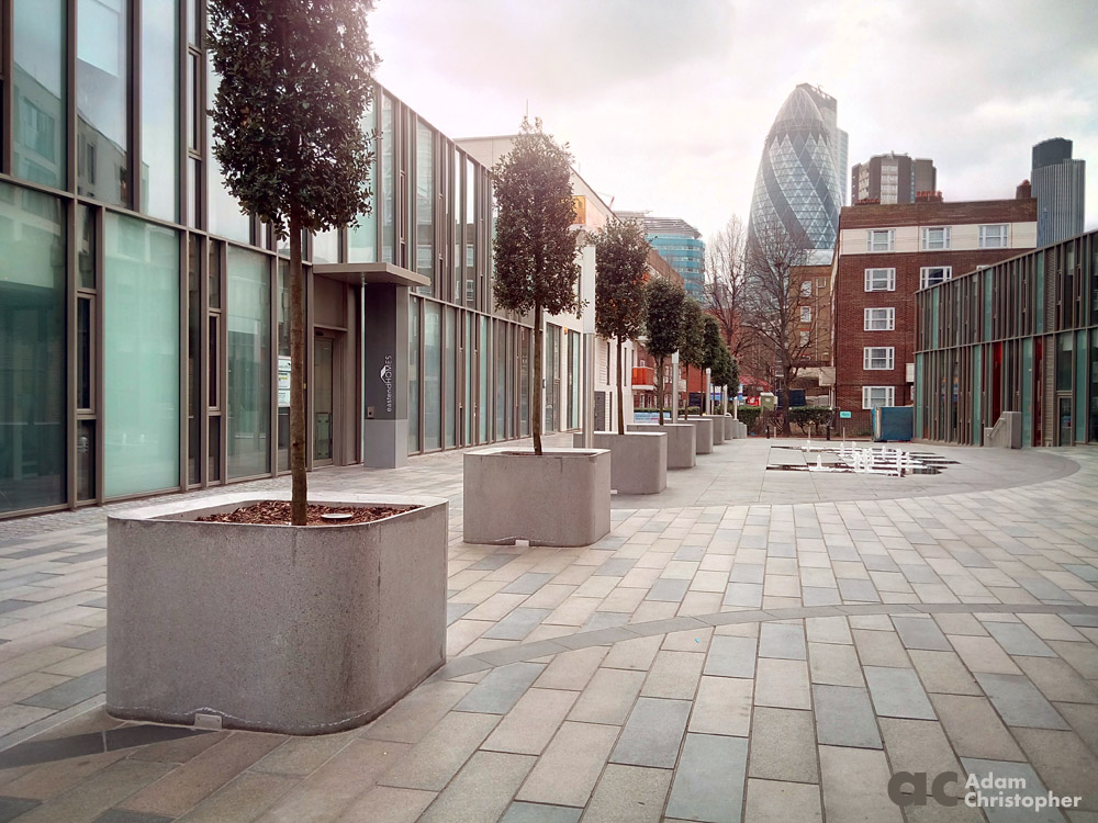 Concrete planters for tree in London 1000px