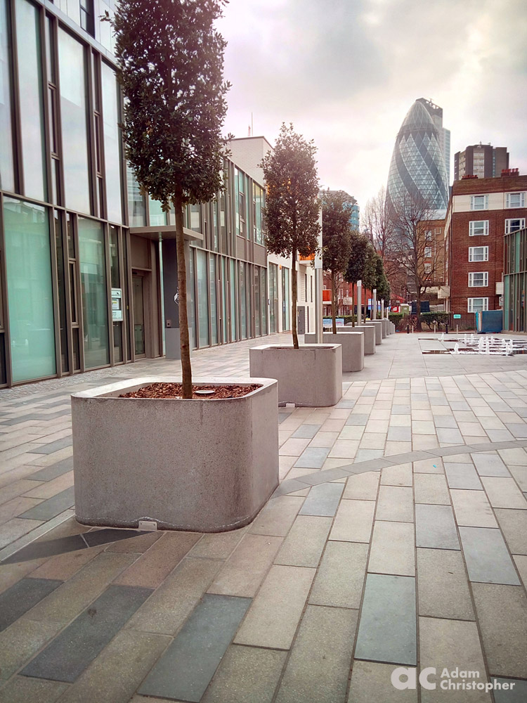 Large concrete flower pot planters in London 1000px