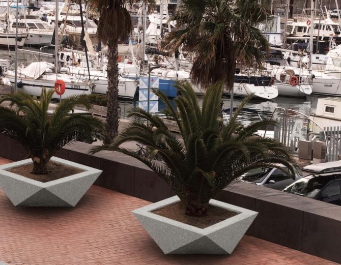 Origami style concrete planters by micro architectura