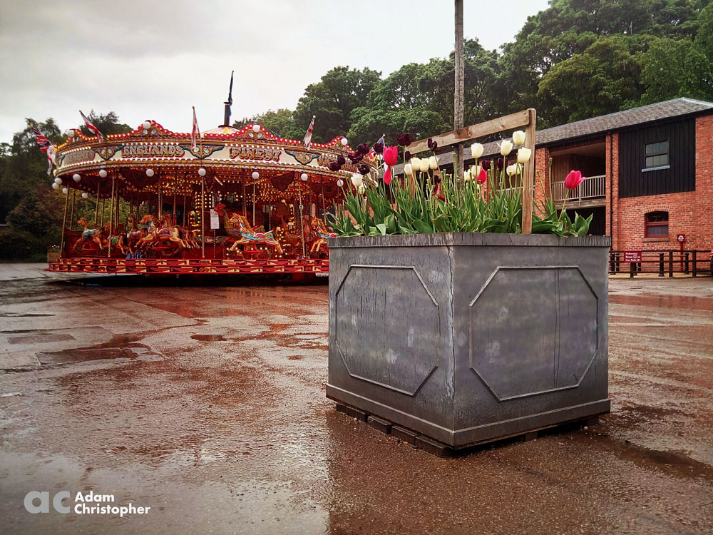 box planter and fairground ride at Tatton Park1000