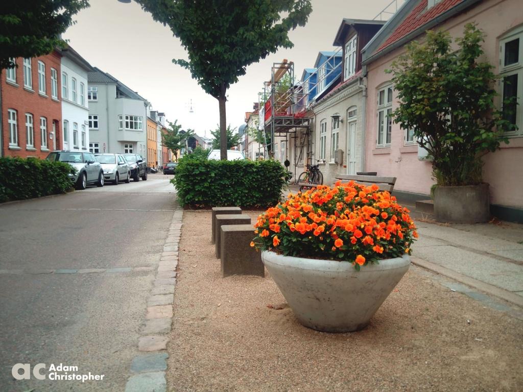 concrete planter down a charming old street
