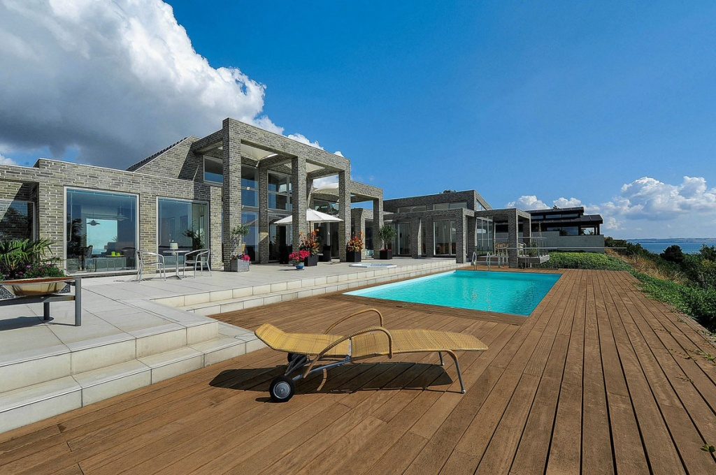 wooden deck terrace and lounger