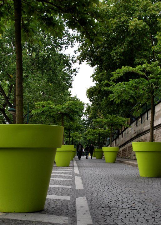 Giant green planters for trees