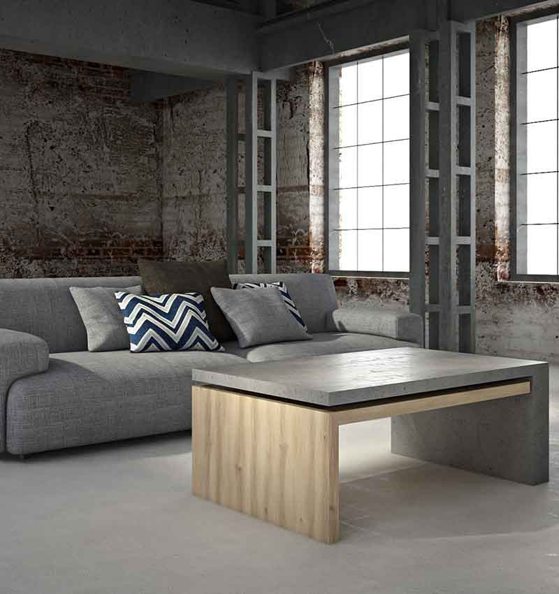 Lignum concrete coffee table by living concrete
