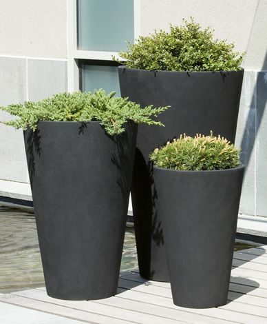 Tapered black planters