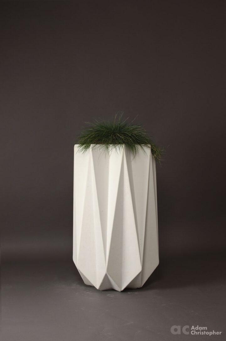 tall modern concrete planter in white
