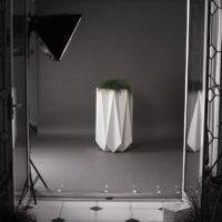 mood shot of designer modern concrete planter