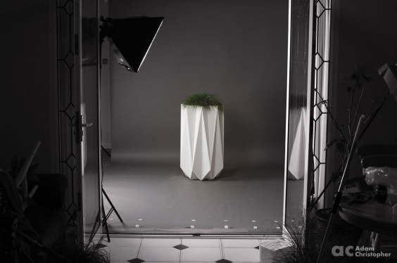 mood shot of designer modern concrete planter