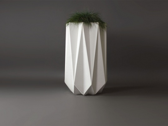 white concrete tall planter