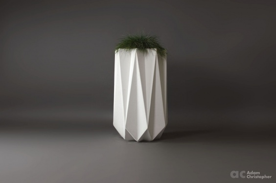 white geometric concrete planter