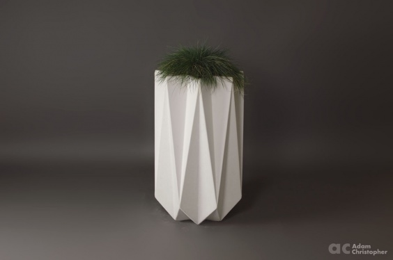 tall outdoor concrete planter in white fibre material