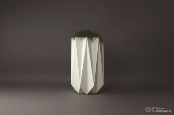 white concrete planter in tall geometric design