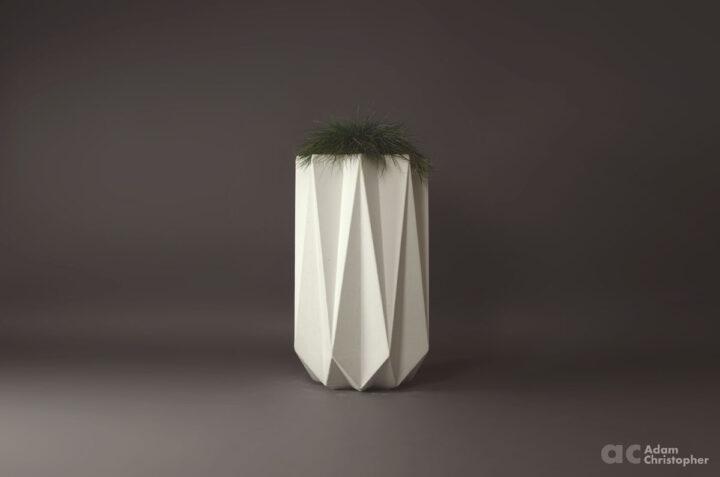 white concrete planter in tall geometric design