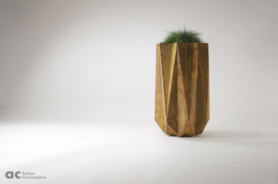 tall slim modern planter in corten steel effect