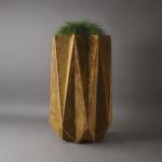 tall modern geometric planter in rust effect