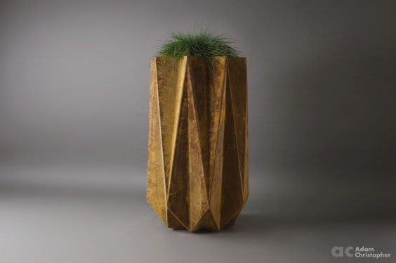 tall modern geometric planter in rust effect
