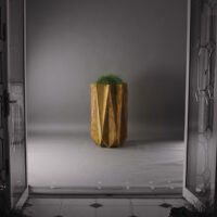 mood shot of tall modern planter in rust effect