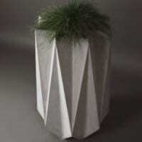 high geometric planter in grey fibre concrete