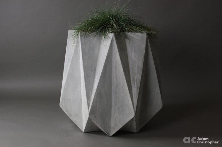 medium height large concrete planter. Modern faceted origami design