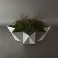 modern concrete planter in grey fibre concrete