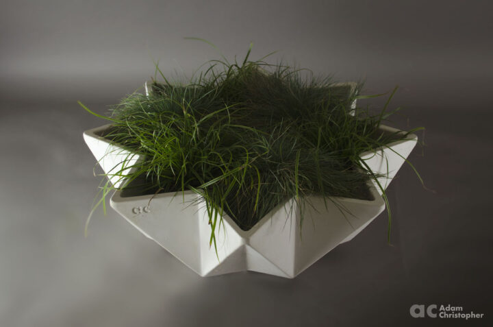 faceted low bowl planter in white fibre concrete