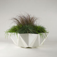 white concrete bowl planter