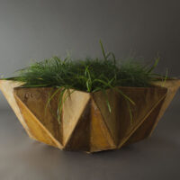 close up shot of large rusted bowl planter