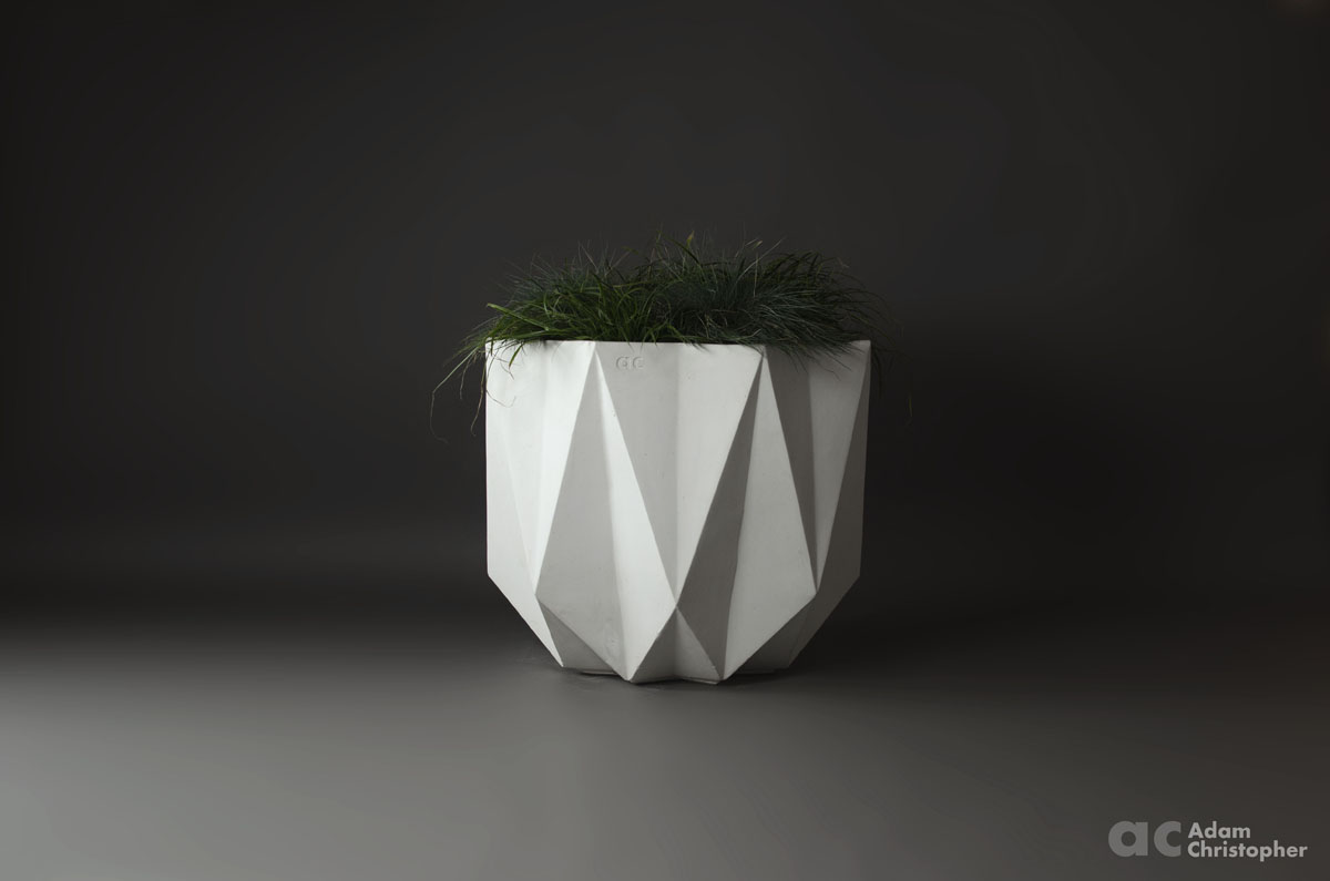 big geometric concrete planter