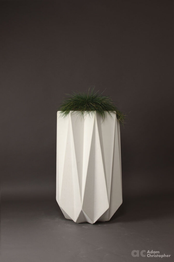 tall modern concrete planter in white