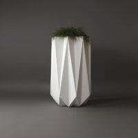 white geometric concrete planter