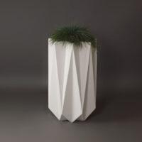 tall outdoor concrete planter in white fibre material