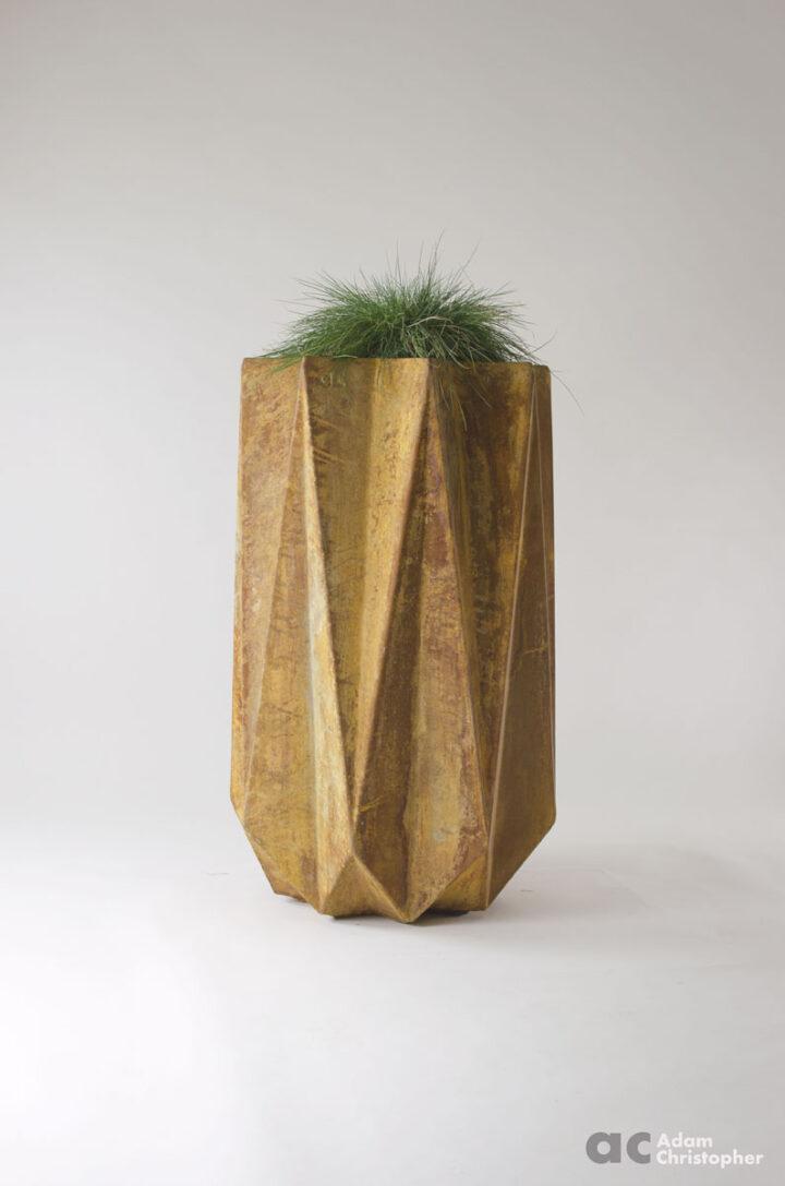 geometric large modern planter in fibre concrete