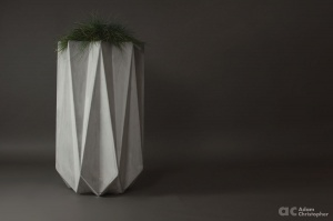 Tall slim modern planter made from fibre concrete. Geometric contemporary planter for designs and architects